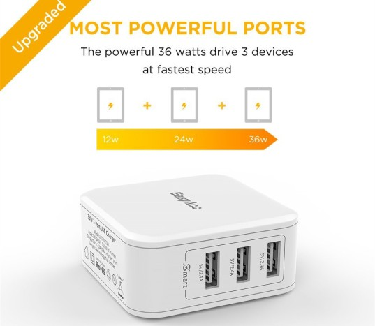 EasyAcc 36W 3-port USB Wall Charger