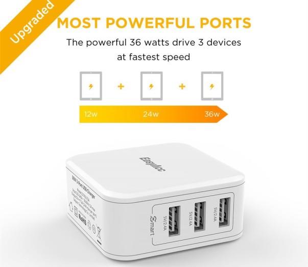 EasyAcc 36W 3-port USB Wall Charger