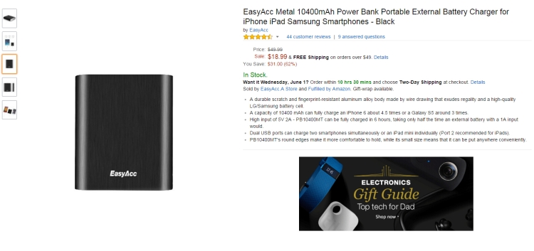 How To Charge EasyAcc Metal Power Bank 10400mAh