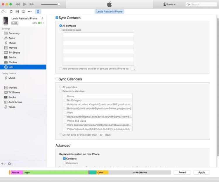 How to copy iPhone 7 Contacts to iTunes 2