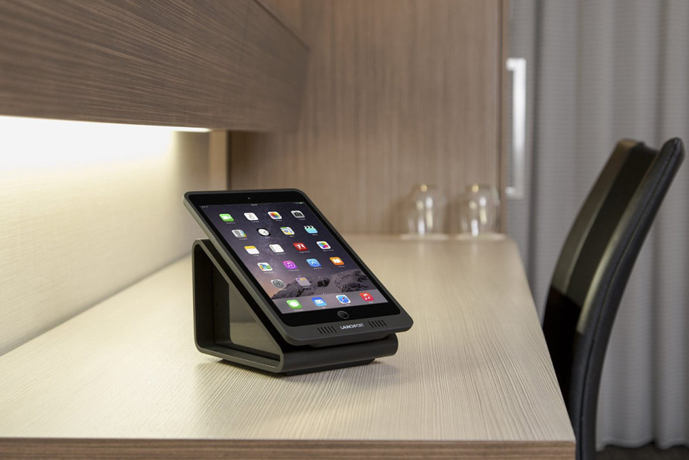 wireless charging iPad on desk