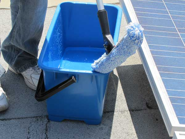 How to Maintain Solar Panels:Mix the soap with water in a bucket