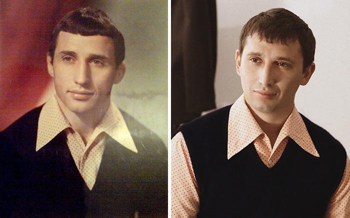 Father And Son. Same Age, Same Shirt