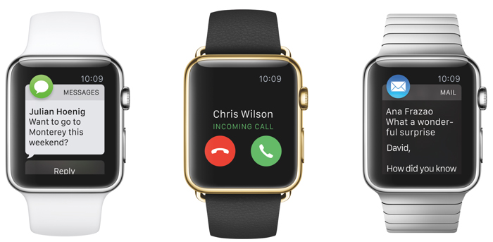 apple watch phone message email