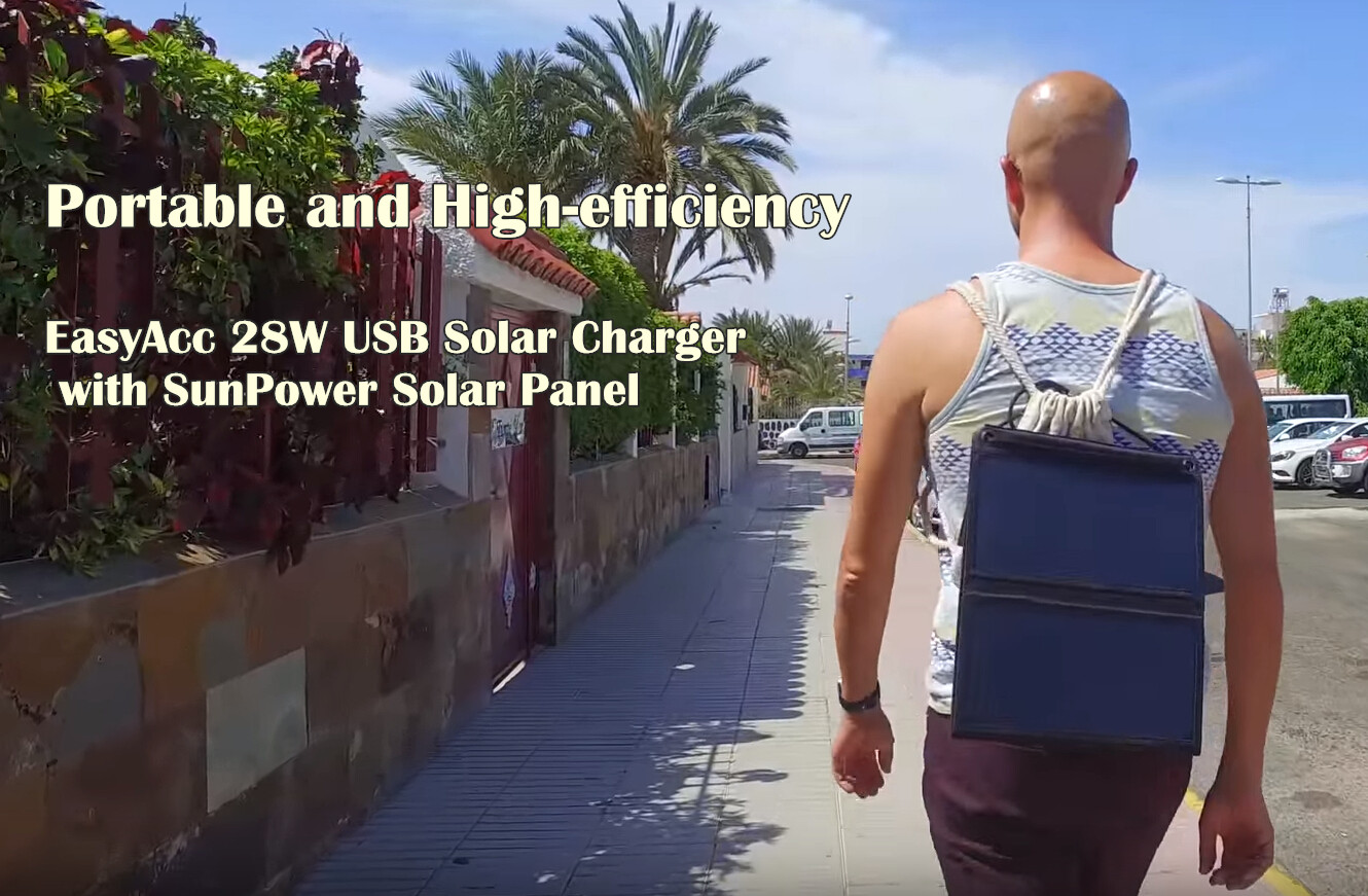 Portable and High-efficiency, EasyAcc 28W USB Solar Charger with SunPower Solar Panel