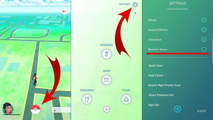 Pokémon GO Tips to Save Battery Life:Battery Saver Mode